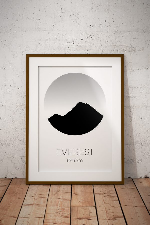 Mount Everest silhouette art print in a picture frame
