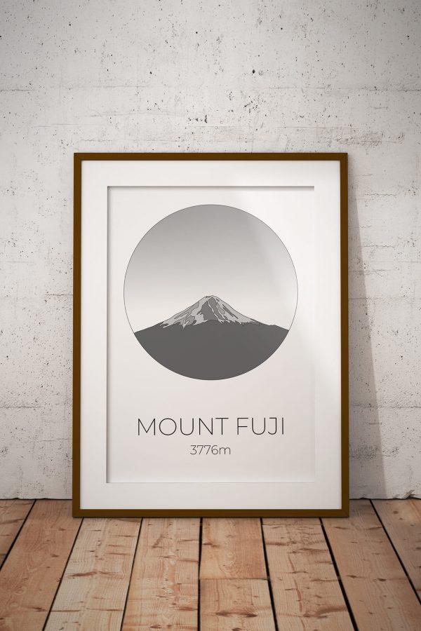Mount Fuji art print in a picture frame