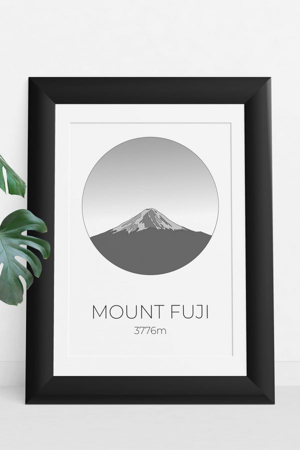 Mount Fuji art print in a picture frame