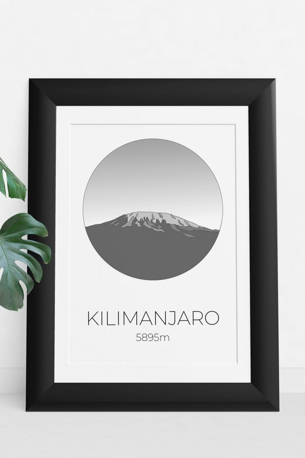Mount Kilimanjaro art print in a picture frame