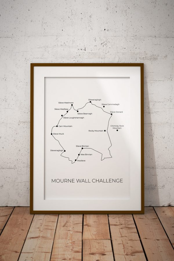 Mourne Wall Challenge art print in a picture frame