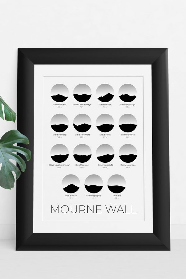 Mourne Wall Challenge silhouette art print in a picture frame