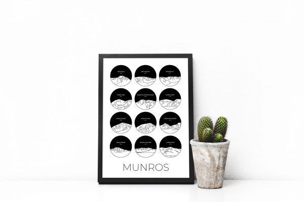 Munros collage art print in a picture frame