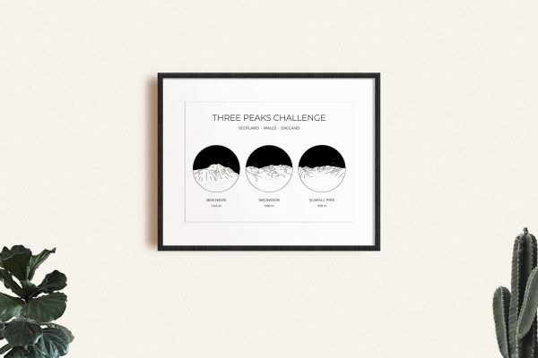 National Three Peaks Challenge Circle Line Art Print in a picture frame