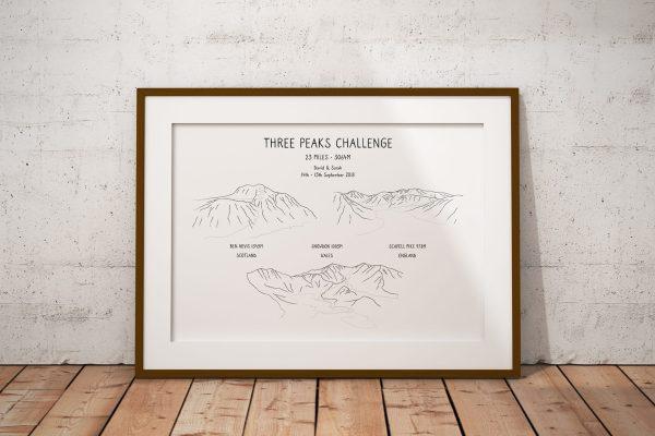 National Three Peaks Challenge Line Art Personalised Print Example