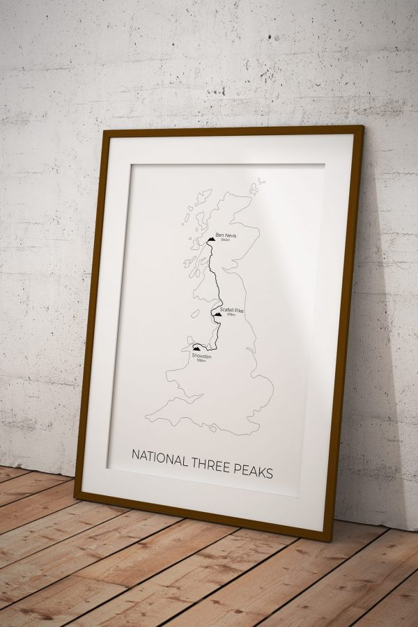 National Three Peaks Challenge Map art print in a picture frame