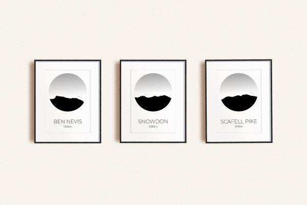 National Three Peaks challenge set of three art prints in picture frames