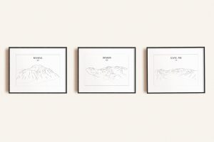 National Three Peaks Challenge set of three line art prints in picture frames