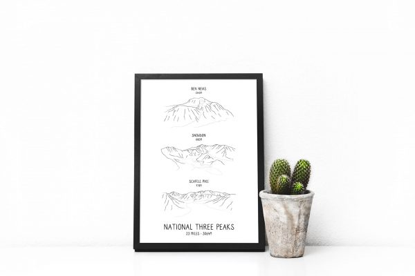 National Three Peaks Challenge vertical line art print in a picture frame