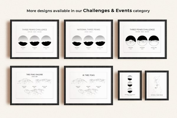 National Three Peaks Challenge art prints in picture frames