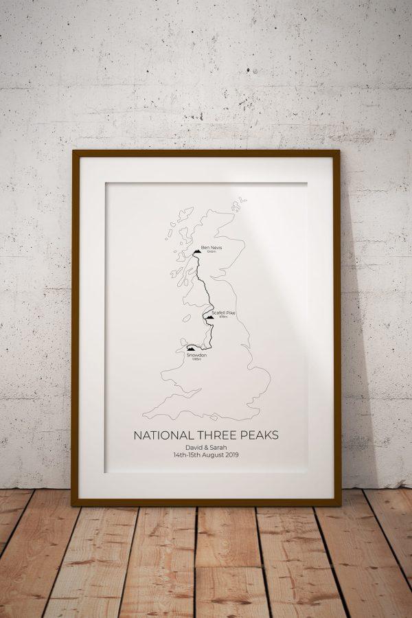 National Three Peaks Map Personalised Print Example