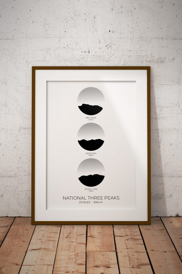 National Three Peaks Challenge vertical circle art print in a picture frame