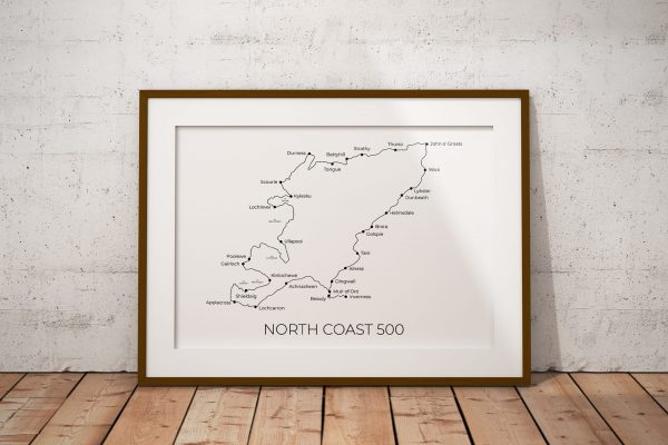 North Coast 500 art print in a picture frame