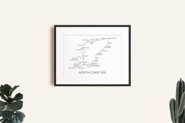 North Coast 500 markable map art print in a picture frame