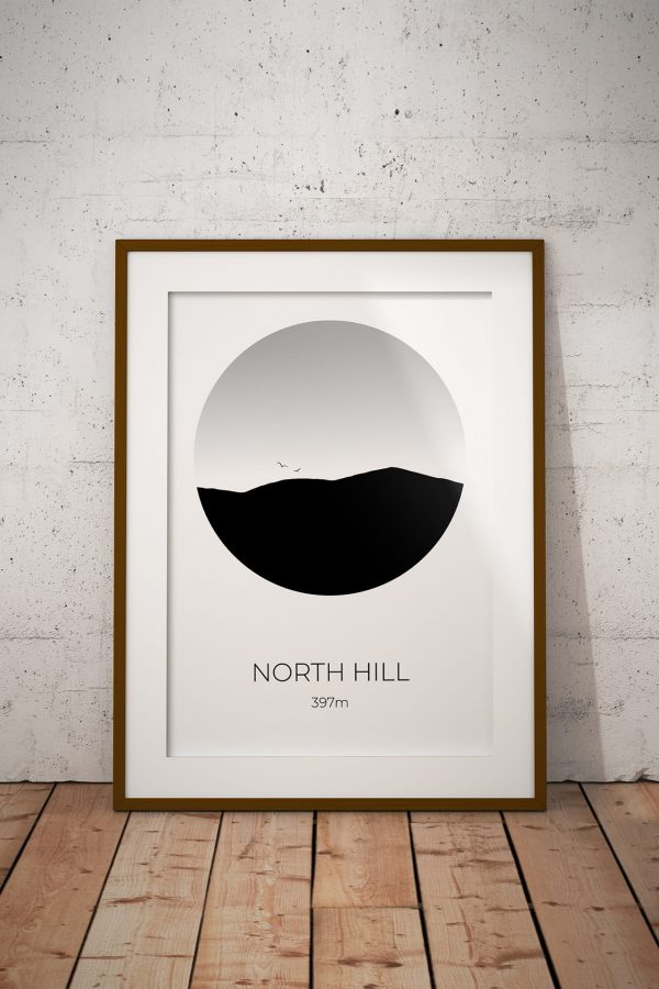 North Hill art print in a picture frame