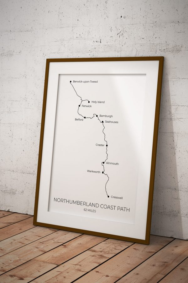 Northumberland Coast Path art print in a picture frame