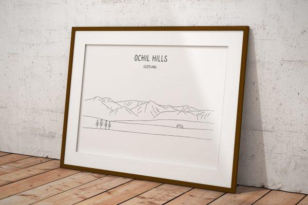Ochil Hills line art print in a picture frame