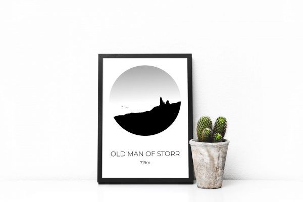 Old Man of Storr silhouette art print in a picture frame