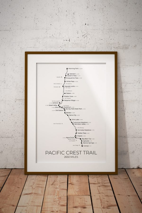 Pacific Crest Trail art print in a picture frame