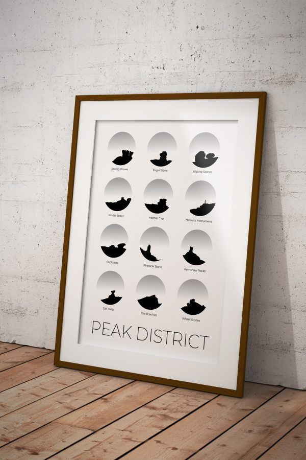 Peak District art print in a picture frame
