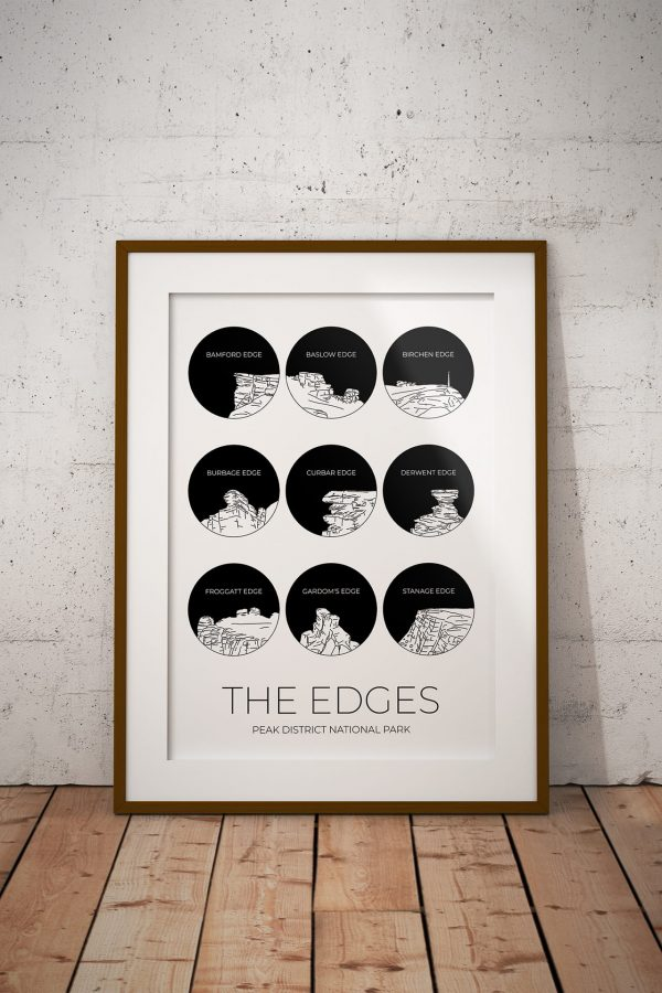 Peak District Edges black art print in a picture frame