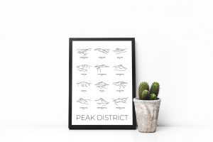 Peak District line art group print in a picture frame