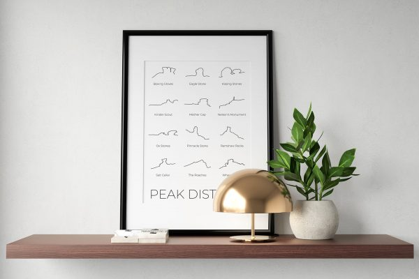 Peak District line art print in a picture frame