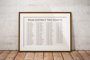 Peak District Trig Points horizontal checklist art print in a picture frame