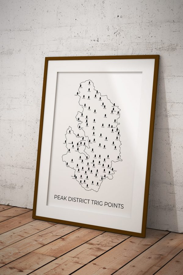 Peak District Trig Points art print in a picture frame