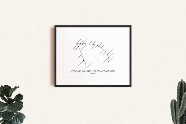Peddars Way & Norfolk Coast Path art print in a picture frame