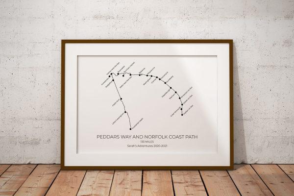 Peddars Way and Norfolk Coast Path Personalised Print Example