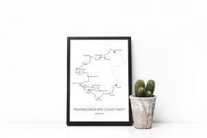 Pembrokeshire Coast Path art print in a picture frame