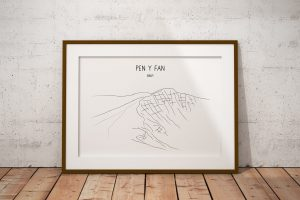 Pen y Fan line art print in a picture frame