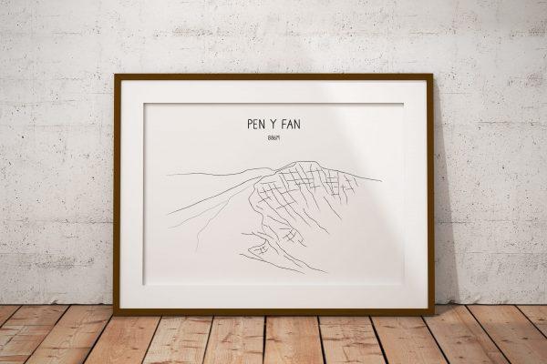 Pen y Fan line art print in a picture frame