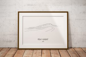 Pen-y-Ghent line art print in a picture frame