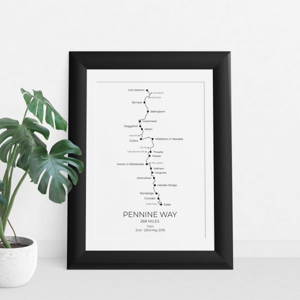 Pennine Way - Custom GPX Route Print in a picture frame