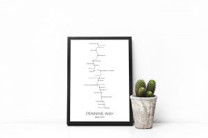 Pennine Way art print in a picture frame