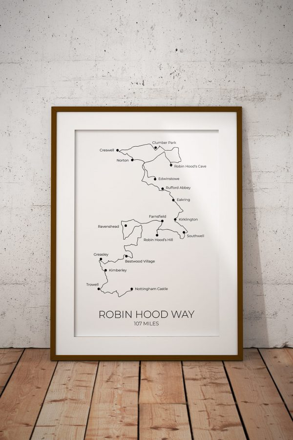 Robin Hood Way art print in a picture frame