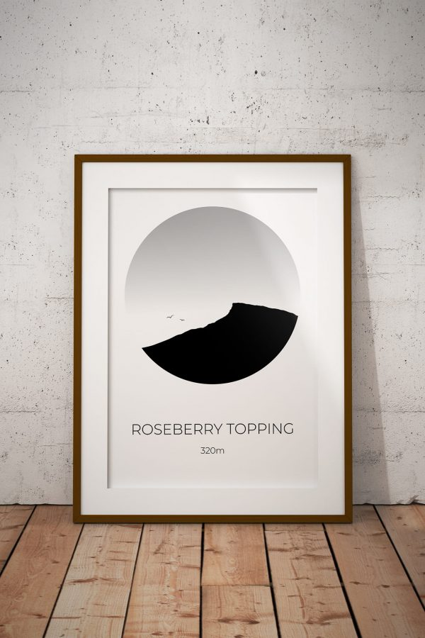 Roseberry Topping art print in a picture frame