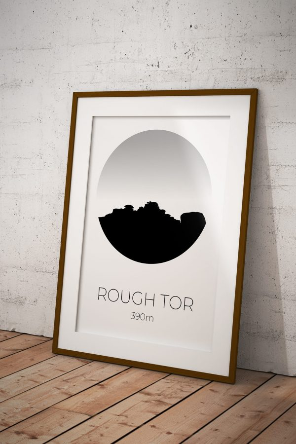 Rough Tor silhouette art print in a picture frame