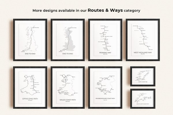 Routes & ways art prints in picture frames