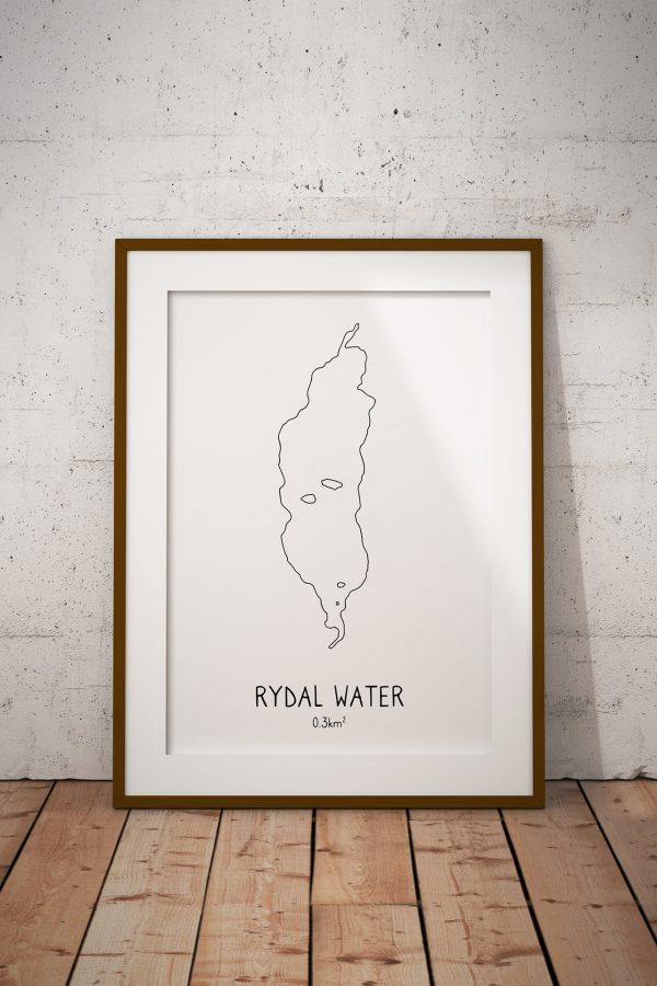 Rydal Water line art print in a picture frame