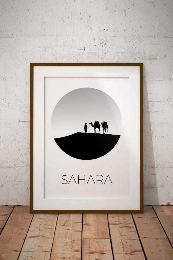 Sahara Desert silhouette art print in a picture frame