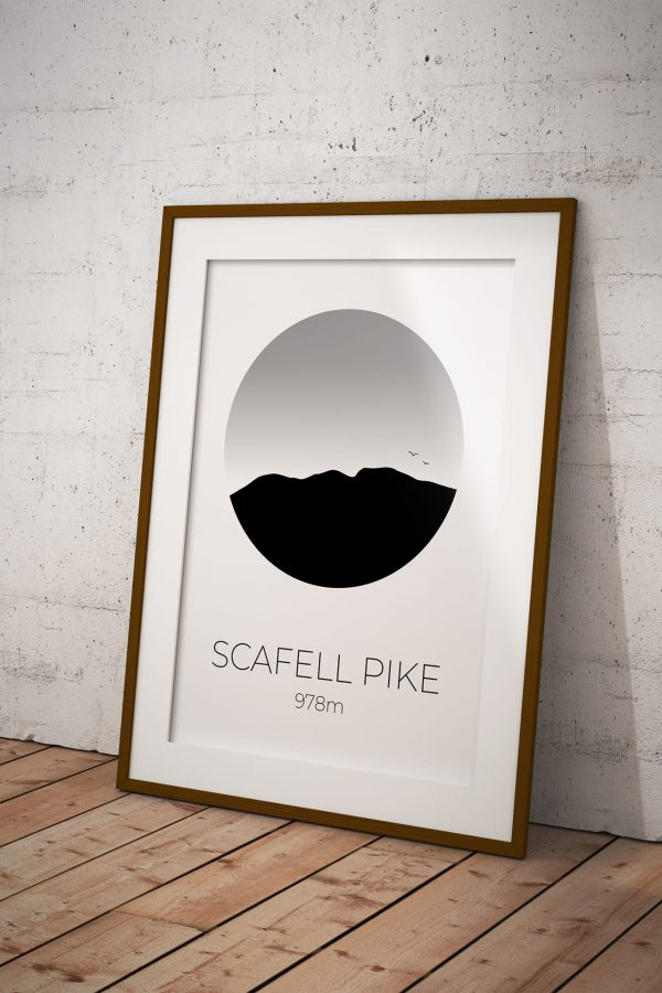 Scafell Pike art print in a picture frame