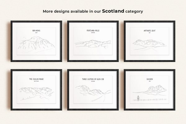 Scotland line art prints in picture frames