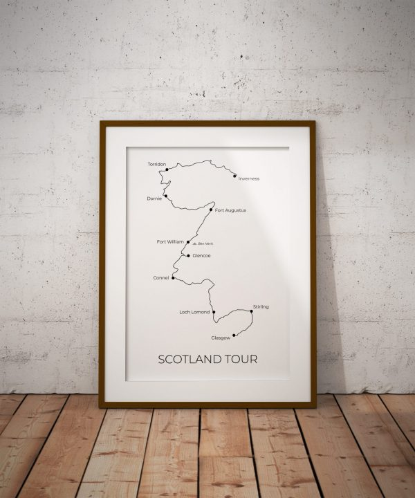 Scotland Tour - Custom GPX Route Print in a picture frame