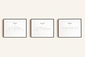 Scottish Three Peaks Challenge set of three line art prints in picture frames