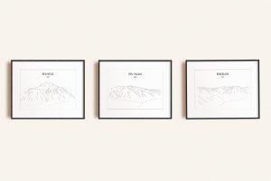 Scottish Three Peaks Challenge set of three line art prints in picture frames