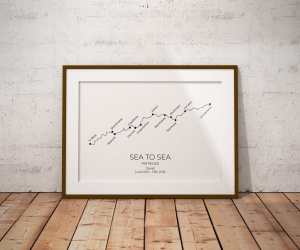 Sea to Sea - Custom GPX Route Print in a picture frame