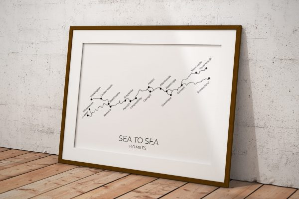 Sea to Sea cycle route art print in a picture frame